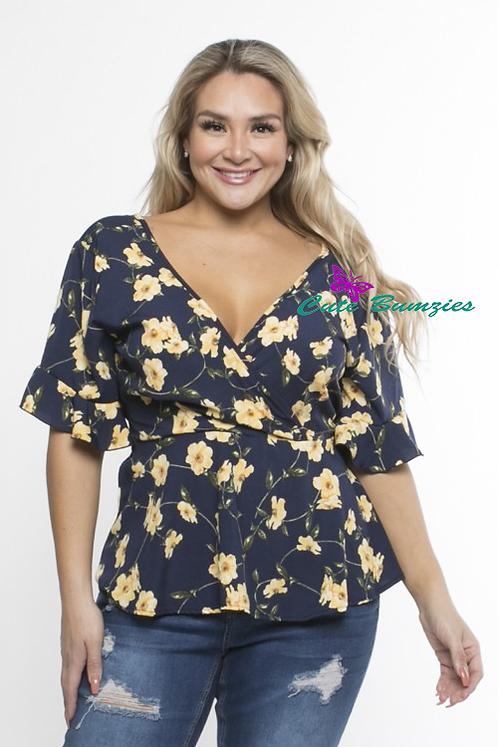 Plus Size Black Floral Short Sleeve Blouse