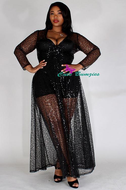 Plus Size Sequin design, sheer mesh, maxi dress