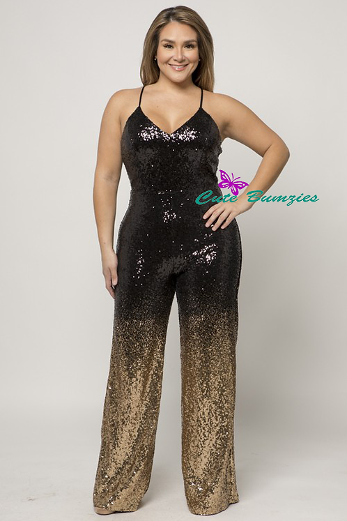 Plus Size Sequin Ombre Wide Leg Black And Gold Jumpsuit