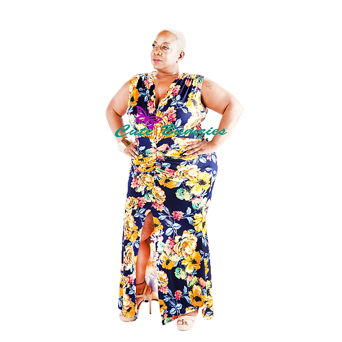 Plus Size Floral Plunge High Slit Maxi Dress