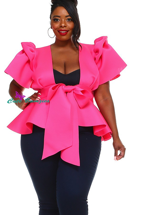 Plus Size Peplum Top with Front Tie and Ruffle Sleeves in Fuchsia