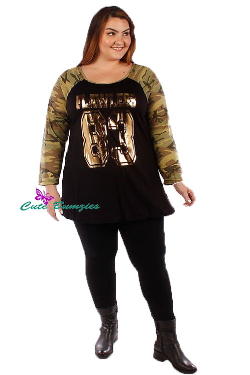 Plus Size Camouflage Metallic Gold Foil Flawless Print Top 4XL-6XL