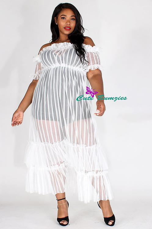 Plus Size White sheer mesh, off shoulder maxi dress