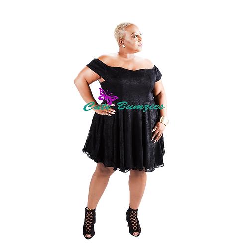 Plus Size BLACK OFF SHOULDER LACE FLARED DRESS