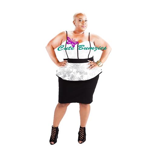 FINAL SALE - Plus Size Ivory Floral Two Tone Peplum Bodycon Dress