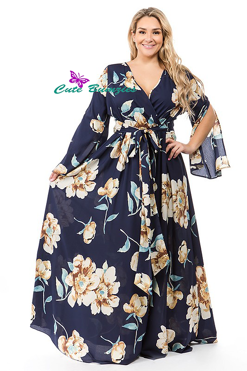 Plus Size Navy Floral print, a-line, maxi dress