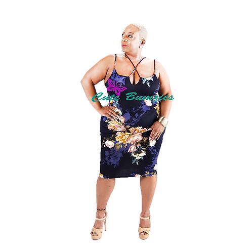 Plus Size FLORAL CROSS STRAP BODYCON DRESS