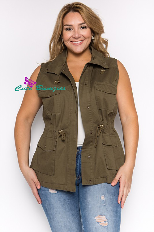 Plus Size Green Hooded Utility Vest