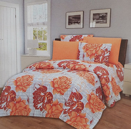 Glory Home Queen Sheet Set 1800 Series with Orange Floral- Wrinkle Free