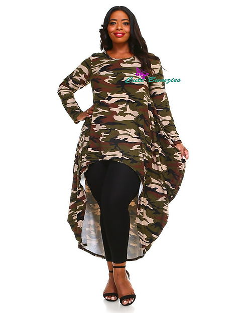 Plus Size Long Sleeve Camouflage Print Top
