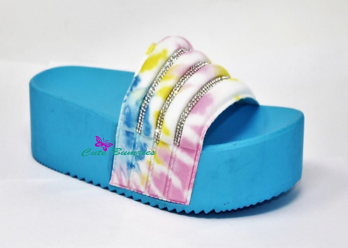 Blue Tie-Dye Rhinestone Platform Sandals