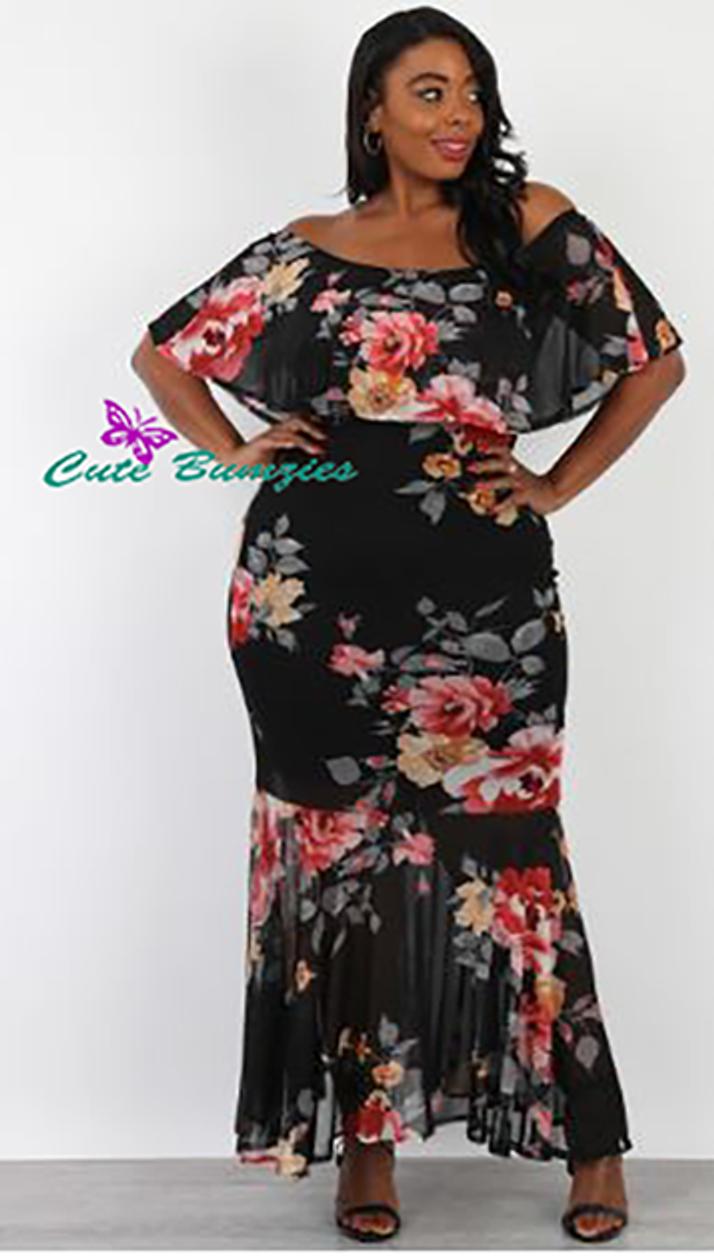 Plus Size black floral mess flounce off shoulder maxi dress