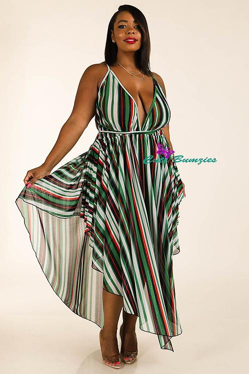 Plus Size green stripe mesh cover up dress