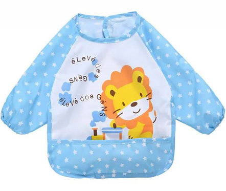 BLUE BABY BIB WITH LONG SLEEVES