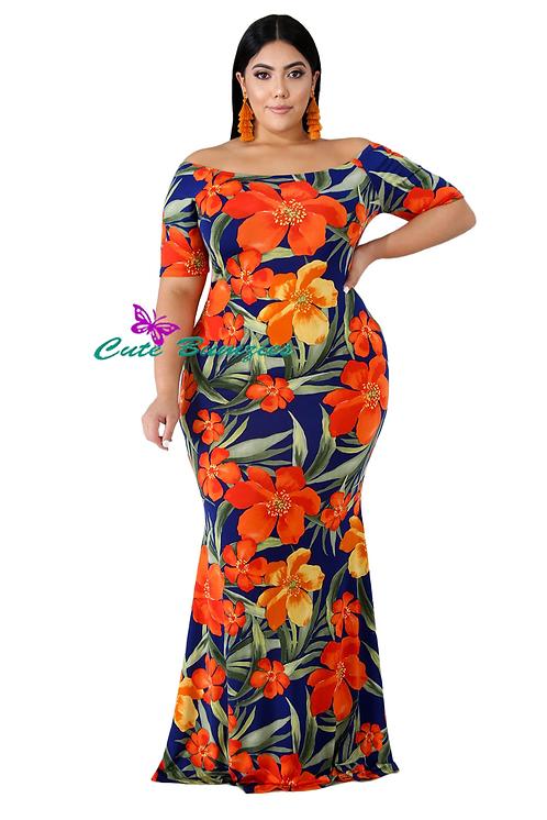 Plus Size California Poppy Mermaid Dress