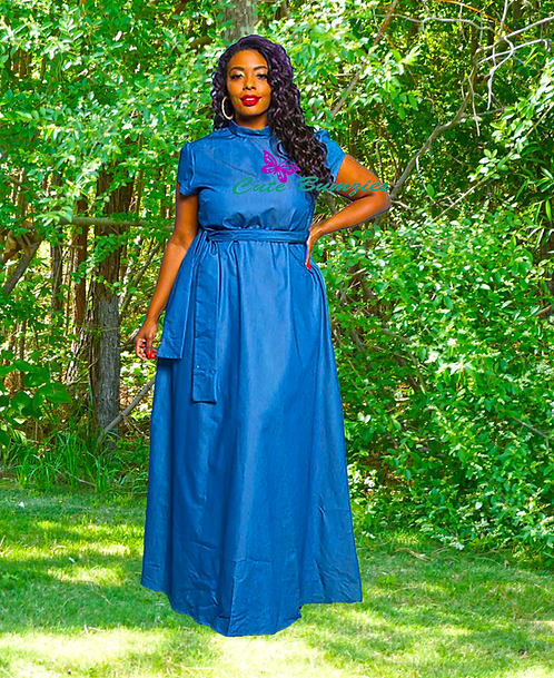 Plus Size Denim Tie Waist Maxi Dress