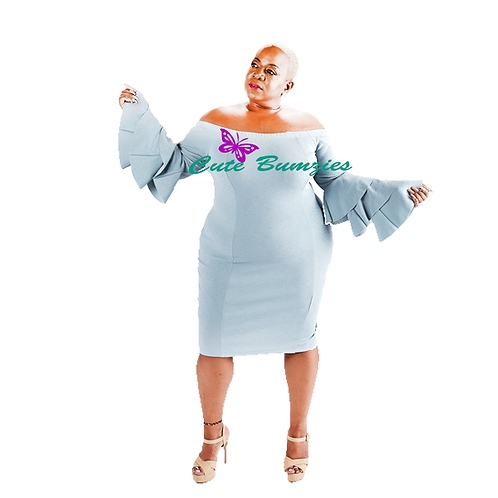FINAL SALE - Plus Size OFF SHOULDER BLUE FLARE SLEEVE BODYCON DRESS