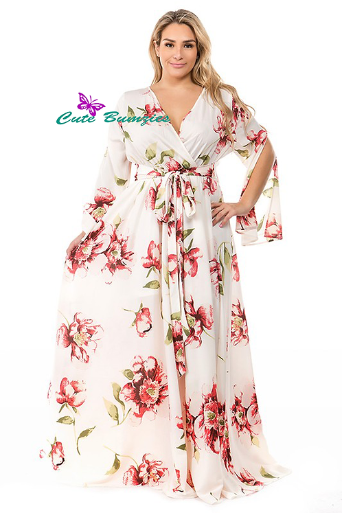 Plus Size Ivory Floral print, a-line, maxi dress
