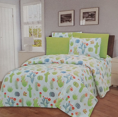 Glory Home Queen Sheet Set 1800 Series, with Green Print- Wrinkle Free