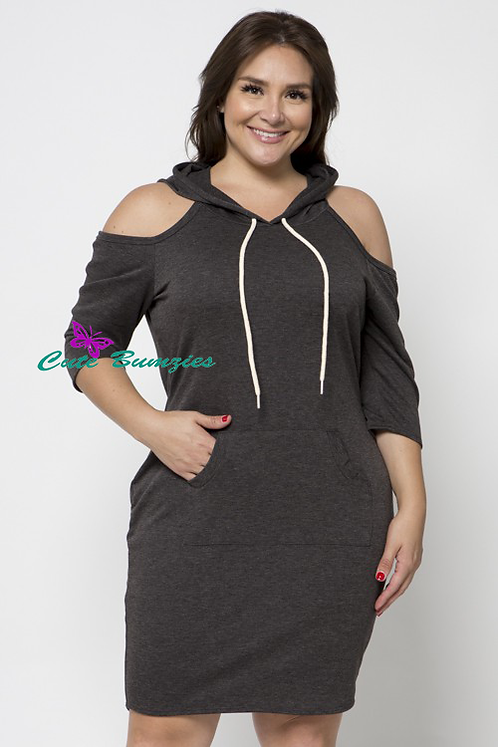 Plus Size Charcoal Cold Shoulder Hooded Sweatshirt Dress