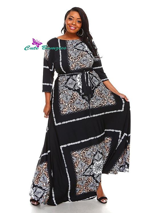 Plus Size Black 3/4 Sleeve Maxi Dress 4XL-6XL