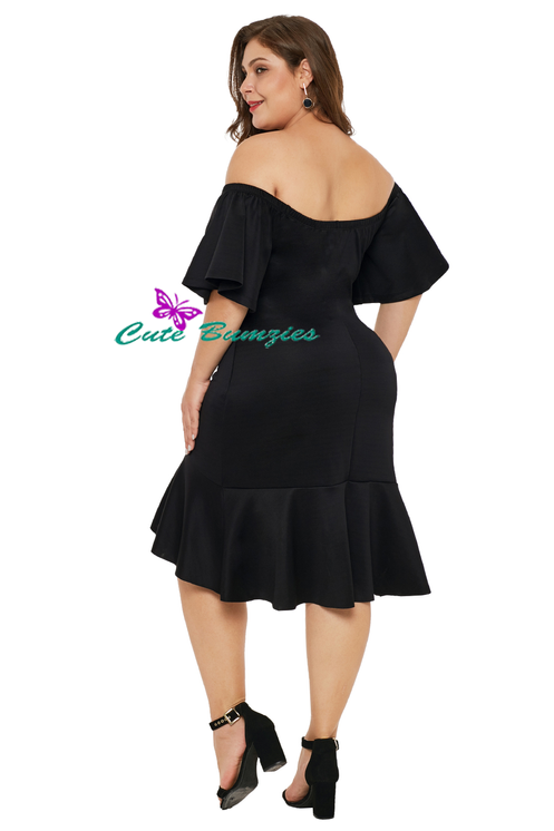 New Arrival - Black Off Shoulder Plus Size Dress with Ruffles