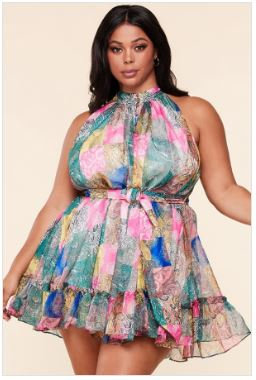 New Arrival - Paisley Patch, multi-color scarf print mini dress