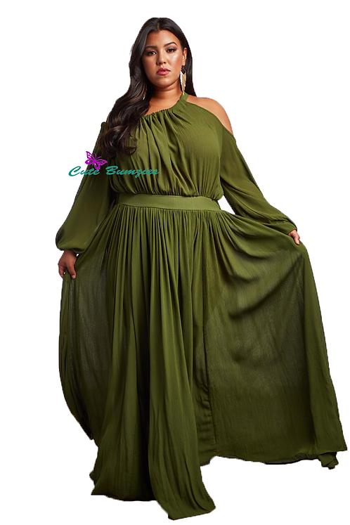 Plus Size Solid, off-the-shoulder, Olive Color Maxi Dress