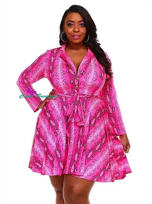 Plus Size Fuchsia Skater Dress  with Snake Skin Print