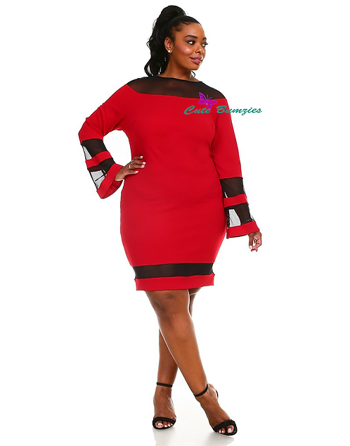 Plus Size red short fitted bodycon dress with black mesh
