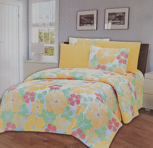 Glory Home King Sheet Set 1800 Series, Yellow Floral - Wrinkle Free