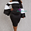 Thumbnail: Plus Size Solid and striped colorblock midi dress in a bodycon fit
