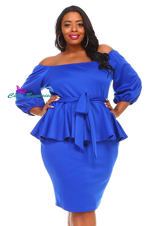 Plus Size Blue off shoulder 3/4 sleeves 4XL-6XL
