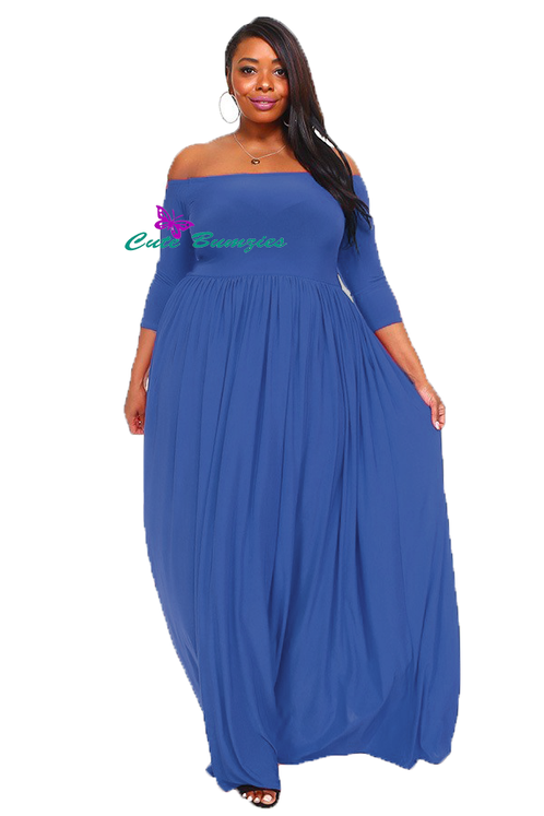 New Arrival Plus Size Royal Blue off shoulder maxi dress with 3/4 sleeves  4XL-6X