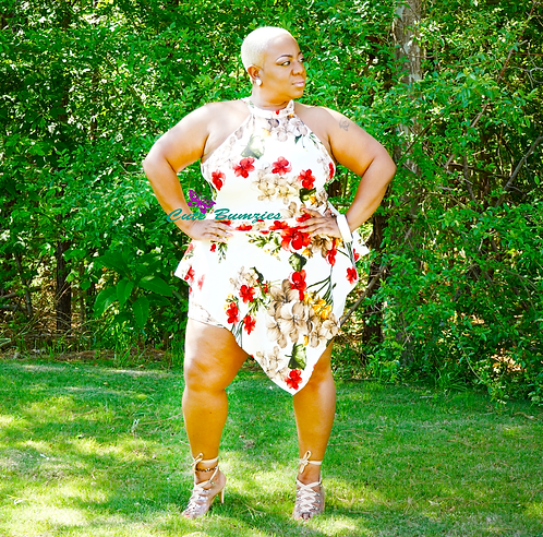 Plus Size Off WhiteFloral Print Romper