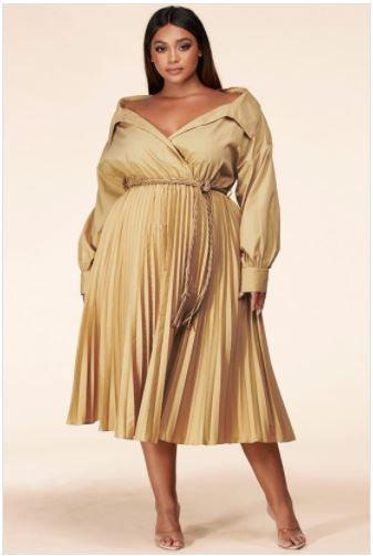 Sandy Beige Plus Size Midi Dress