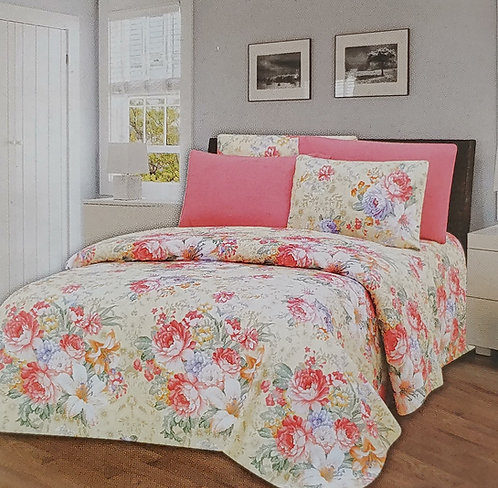 Glory Home Queen Sheet Set 1800 Series with pink floral- Wrinkle Free