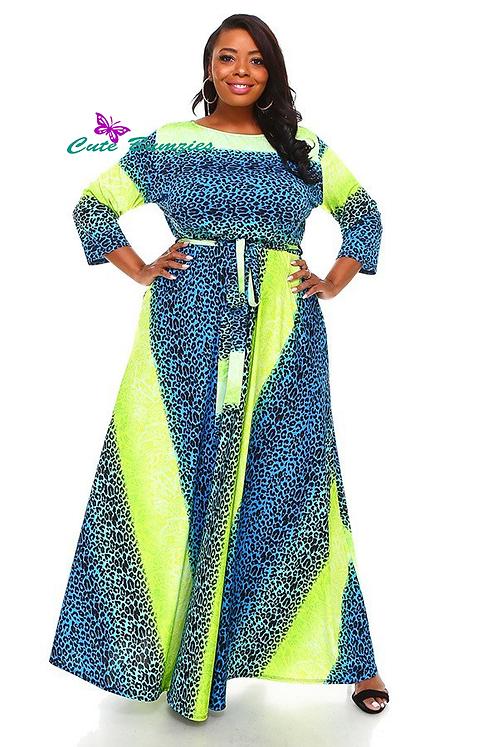 Plus Size 3/4 Sleeve Maxi Dress With Animal Print 4XL-6XL