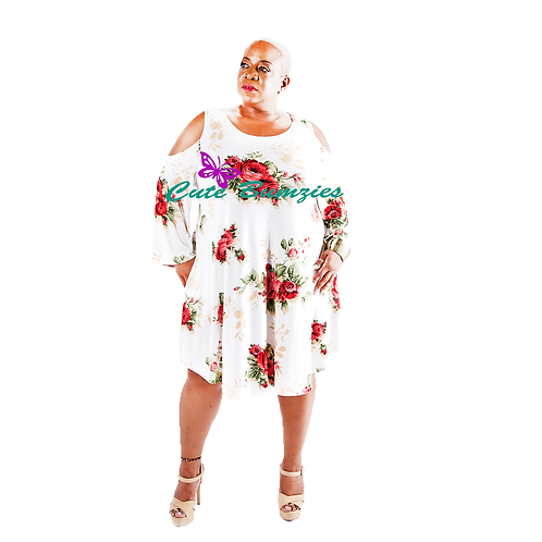 FINAL SALE - Plus Size FLORAL PRINT COLD SHOULDER 3/4 SLEEVE DRESS WITH POCKETS