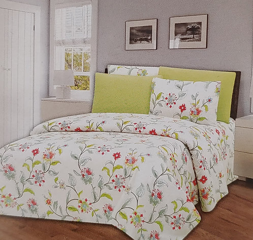 Glory Home Queen Sheet Set 1800 Series with Green Floral Print - Wrinkle Free