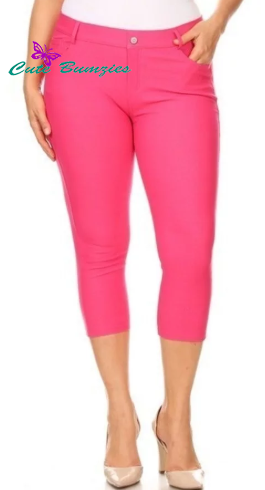 Basic 5 pocket Plus Size Capri Jegging