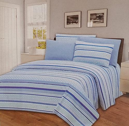 Glory Home Queen Sheet Set 1800 Series, Blue Stripe Print- Wrinkle Free