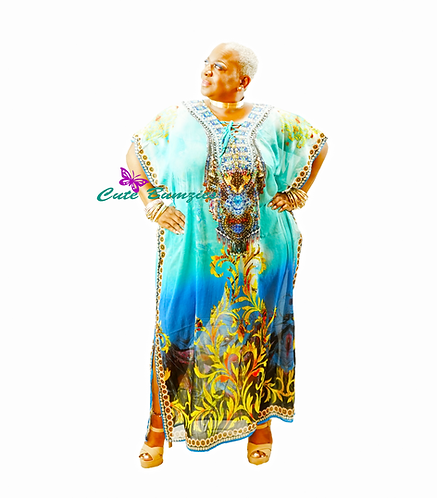 Plus Size BLUE MULTI COLORED MAXI DRESS/COVER UP (PLUS SIZE- ONE SIZE)