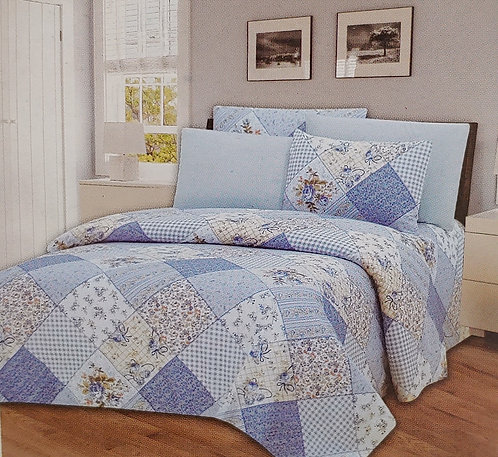 Glory Home Sheet Set 1800 Series, Blue Patch Print- Wrinkle Free, Deep Pocket