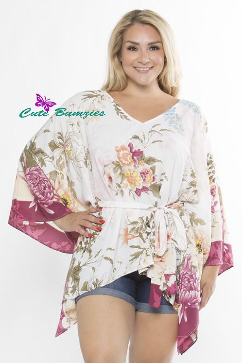 Plus Size White Floral Poncho Top