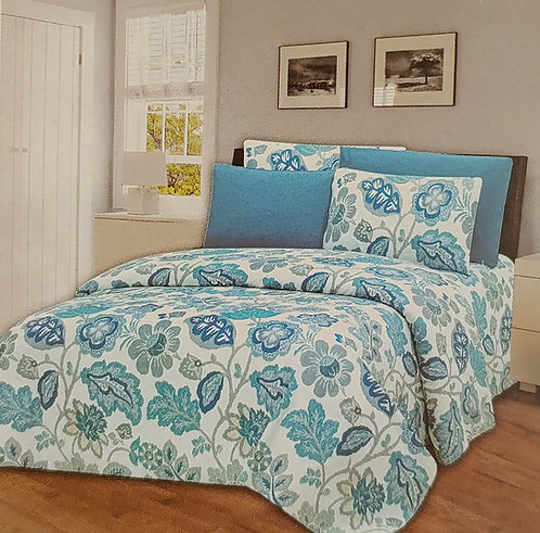 Glory Home Queen Sheet Set 1800 Series with blue floral- Wrinkle Free