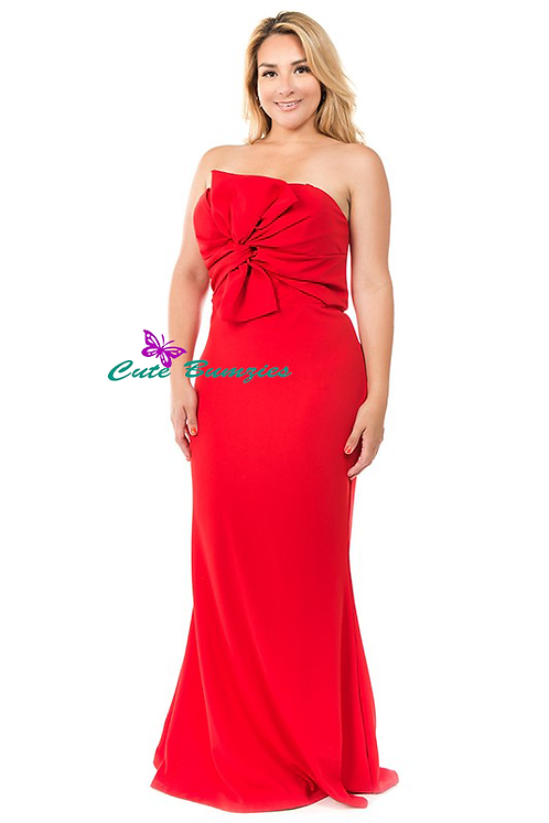 Plus Size Red knot front detailed strapless mermaid dress