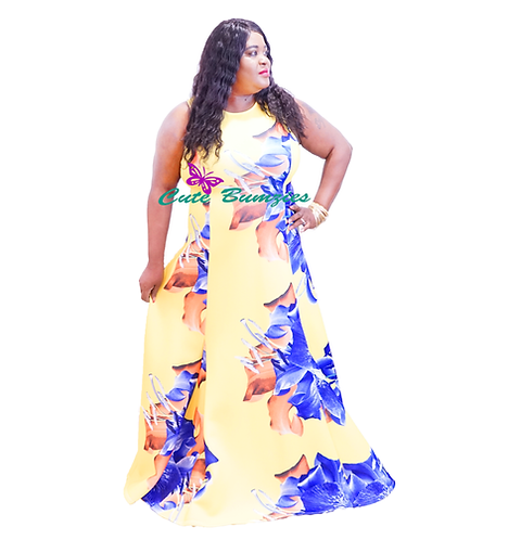 FINAL SALE - Plus Size Floral Yellow With Blue Flowers Maxi Dress