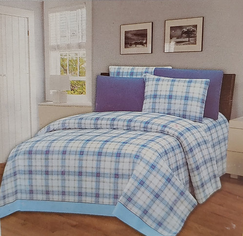 Glory Home Queen Sheet Set 1800 Series with Blue Plaid- Wrinkle Free