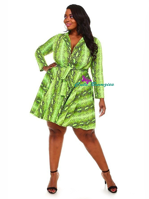 Plus Size Green Skater Dress with Snake Skin Print